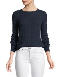 Ralph Lauren Collection - Long-sleeve Crewneck Cable-knit Cashmere Sweater - Lyst