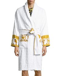 38a8fe2649 Lyst - Versace Lamyland Printed Cotton Dressing Gown in Black for Men