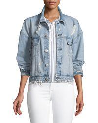 Hudson Jeans - Rei Distressed Cropped Denim Jacket - Lyst
