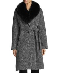Sofia Cashmere - Fox Shawl-collar Belted Three-button Alpaca Boucle Coat - Lyst