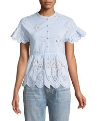 Joie - Cerelia Scalloped Eyelet Top - Lyst