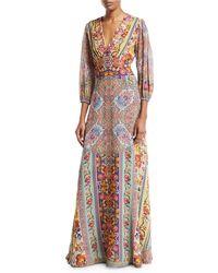 d113e35533e96 Etro - 3 4-sleeve Floral-print Beaded Bodice Gown - Lyst