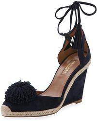 ea9e5587a834 Lyst - Prada Suede Wedge Espadrille Mule Sandal in Brown