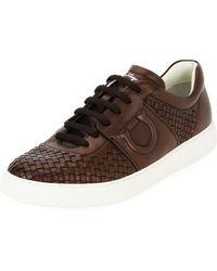 Ferragamo - Men's Woven Leather Low-top Sneakers - Lyst