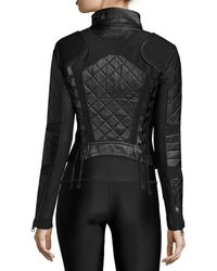 BLANC NOIR - Quilted Leather & Mesh Moto Jacket - Lyst