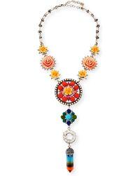 DANNIJO - Peony Floral Statement Y-drop Necklace - Lyst
