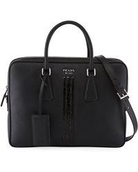 Prada - Slim Saffiano Leather/crocodile Triangle Briefcase - Lyst