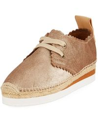 See By Chloé - Scalloped Metallic Leather Platform Sneakers - Lyst