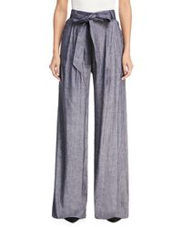MILLY - Stretch Self-tie Trapunto Pants - Lyst