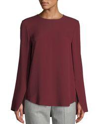 a62ecb9dcf Theory - Bringham Crewneck Long-sleeve Classic Silk Georgette Blouse - Lyst