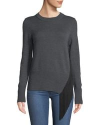 MILLY - Crewneck Long-sleeve Pullover Wool Sweater W/ Angled Fringe - Lyst