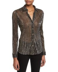 L'Agence - Nina Long-sleeve Metallic Button-front Blouse - Lyst