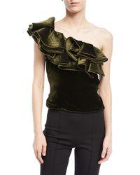 Johanna Ortiz - Lorca One-shoulder Velvet Bodysuit - Lyst