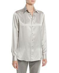 Ralph Lauren Collection - Bacall Button-front Long-sleeve Silk Blouse - Lyst