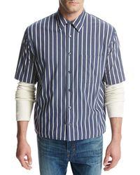 Vince - Narrow-stripe Short-sleeve Pleat-back Shirt - Lyst