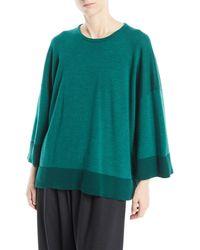 Eskandar - Round-neck Long-sleeve Hand-loomed Merino Wool Top W/ Contrast Hem - Lyst