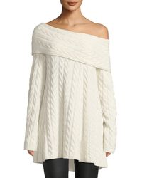 Lafayette 148 New York - Off-the-shoulder Long-sleeve Cable-knit Cashmere-blend Sweater - Lyst