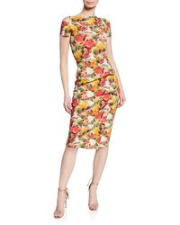 La Petite Robe Di Chiara Boni - Floral-print Short-sleeve Dress W/ Grommet Details & Asymmetric Shirred Skirt - Lyst
