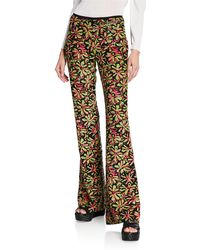 Michael Kors - Watermelon-lime Daisy Embellished Flare Trousers - Lyst