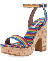 Tabitha Simmons - Calla Silk Cork Platform Sandal - Lyst