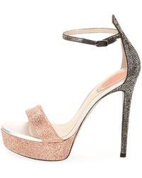 Rene Caovilla - Crystal Two-tone Platform Sandal - Lyst