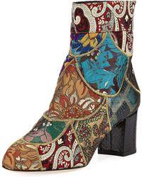 Dolce & Gabbana - Jacquard Block-heel Bootie - Lyst