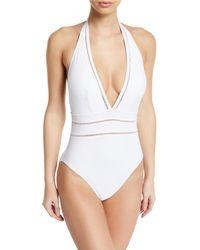 Gottex - Finesse Plunging Halter One-piece Swimsuit - Lyst