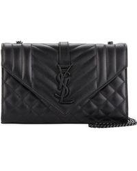Saint Laurent - Monogram Ysl Envelope Small Chain Shoulder Bag - Black Hardware - Lyst