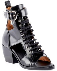 Chloé - Women's Rylee Leather Open - Toe Lace Up Booties - Lyst