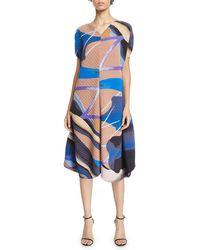 Issey Miyake - Bloom Short-sleeve Pleated Midi Dress - Lyst