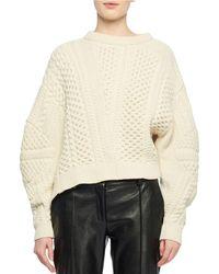 Stella McCartney - Puff-sleeve Alpaca-blend Cable-knit Sweater - Lyst