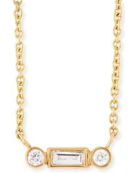 Sydney Evan - Bezel Baguette Diamond Necklace - Lyst