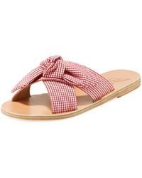 Ancient Greek Sandals - Gingham Fabric Knotted Sandal - Lyst