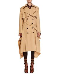 Chloé - Double-breasted Belted Drape-side Wool Trench Coat - Lyst