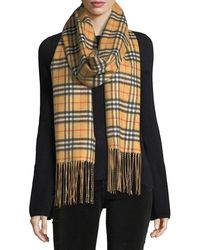 Burberry - Cashmere Reversible Vintage Check Pattern Scarf - Lyst