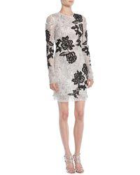 Naeem Khan - Long-sleeve Beaded-embellished Cocktail Dress W/ Floral Applique - Lyst