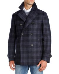 Isaia - Plaid Wool Double-breasted Pea Coat - Lyst
