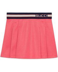 Gucci - Pleated Jersey Skirt W/ Logo Waistband - Lyst