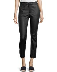 Vince - Leather Coin-pocket Straight-leg Trousers - Lyst