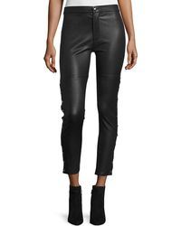 IRO - Sabrina Snap-trim Leather Ankle Pants - Lyst