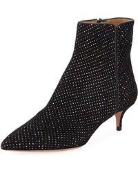 Aquazzura - Quant Metallic-dotted Kitten-heel Booties - Lyst