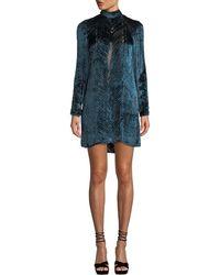 J. Mendel - Long-sleeve High-neck Velvet Burnout Cocktail Dress - Lyst