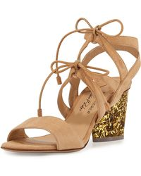 Edie Parker - Rhoda Suede Glitter-heel Sandal - Lyst