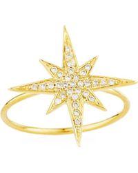 Sydney Evan | Medium 14k Yellow Gold Diamond Starburst Ring | Lyst