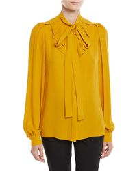 Michael Kors - Tie-neck Gathered Button-front Long-sleeve Silk Georgette Blouse - Lyst