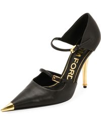 Tom Ford - Two-strap Mary Jane Pumps With Pointed Metal Toe - Lyst