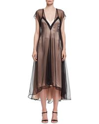 Lanvin Slip Dress With Contrast Overlay - Black