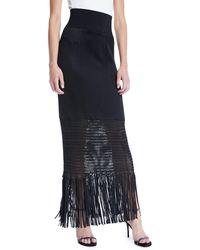 Galvan London - Vesper High-shine Knit Jersey Long Skirt W/ Fringe Hem - Lyst