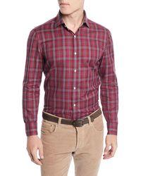 Isaia - Men's Plaid Cotton Sport Shirt - Lyst