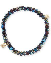 Sydney Evan - Metallic Garnet & Diamond Lock Bracelet - Lyst